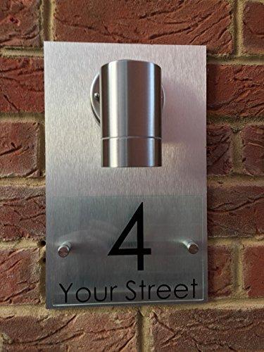 [해외]현대 주택 부호 플라크 문 번호 거리 유리 효과 알미늄 뒤 + 빛/MODERN HOUSE SIGN PLAQUE DOOR NUMBER STREET GLASS EFFECT ALUMINIUM BACK + LIGHT