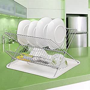 Two-tiers 'X' Shape Dish Rack Stainless Steel Dish Cup Tableware Chopsticks Holder Organizer (Chromeplated, Silver)