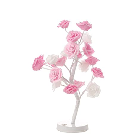 Lights & Lighting 24led Warm Rose Tree Light Night Lamp Romantic Flower Wedding Holiday Decoration Rose Potted Plant Decorative Bonsai