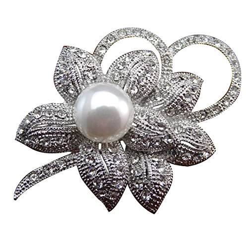 ZAKIA Classic Crystal Flower with Faux Pearl Brooch Pin Brooches Rhodium Plated (White) ()
