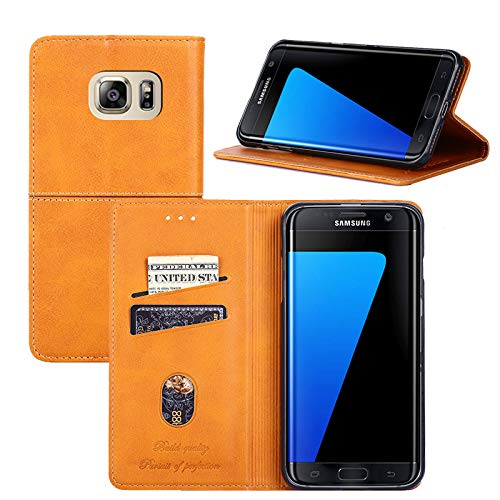 Galaxy S7 Edge Case, YEEGG Flip Cover Leather, Phone Wallet Case for Samsung Galaxy S7 Edge (5.5 inch) - (Brown)