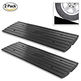 PYLE PCRBDR21 Car Vehicle Curbside Driveway Ramp - 4ft Heavy Duty Rubber Threshold Bridge Tracks Curb Ramps, 2 Pieces (for Car, Truck, Scooter, Bike, Motorcycle, Wheelchair Mobility)