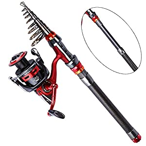 YONGZHI Fishing Reel Rod Combos Carbon Fiber Telescopic Fishing Pole and Metal Spin Reel Set in Freshwater and Saltwater for Bass Trout