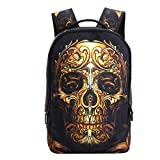 3D Skeleton Skull Cool Backpack Casual Print School Bookbag for Boy's and Girl's (12.2 x 5.9 x 18 inches, Gold Skull)