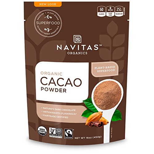 Hot Cocoa Recipe Gourmet (Navitas Organics Cacao Powder, 8oz. Bag — Organic, Non-GMO, Fair Trade, Gluten-Free)