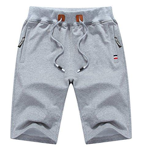 (MO GOOD Mens Casual Jogging Shorts Fashion Workout Shorts (Grey, US (32-33)))