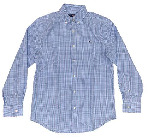 Vineyard Vines Men's Long Sleeve Button Down Whale Shirt Oxford (Large, Stowaway Plaid/Ocean Breeze)