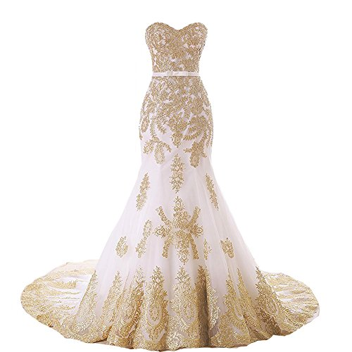 Lemai Mermaid Long White Tulle Gold Lace Corset Sweetheart Wedding Dresses US 16