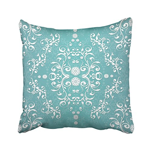 Turquoise Striped Wallpaper (Shorping Zippered Pillow Covers Pillowcases 18X18 Inch aqua teal and white floral damask Decorative Throw Pillow Cover ,Pillow Cases Cushion Cover for Home Sofa Bedding Bed Car Seats Decor)