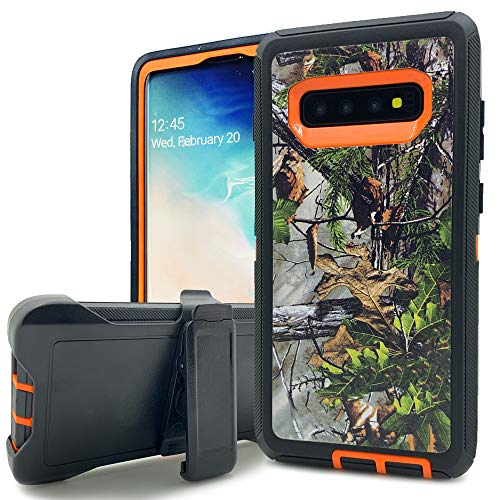 Galaxy S10e Case,Kudex Heavy Duty Shock Absorption Defender Impact Scratch Resistant Camouflage Hybrid Case with 360 Degree Swivel Belt Clip Holder Stand Rugged Cover for Samsung S10e (Forest Orange)