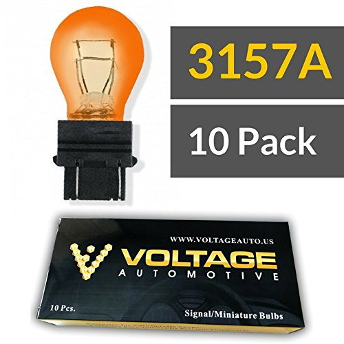 (10 Pack) 3157A 3157NA 3157 Amber Automotive Brake Light Turn Signal Side Marker Light Bulb - Voltage Automotive- Standard Replacement