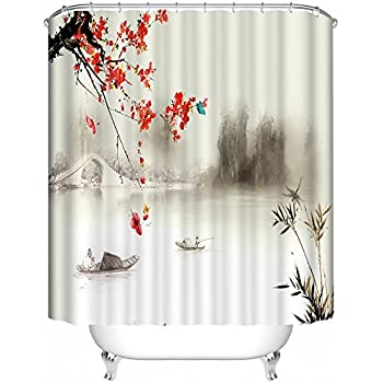 Panoramic Print Red Blossom With Bridge Fabric Shower Curtain Spa Decor,  Kin By Nicola,