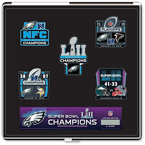 (Pro Specialties Group Philadelphia Eagles Super Bowl LII Champions Commemorative Pin Set - Limited Edition )