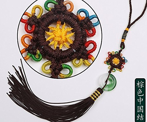 Handmade Tranditional Chinese Knot with Chinese Cloud Brocade Decorate and a Decorative Jade (brown, 11 Inch)