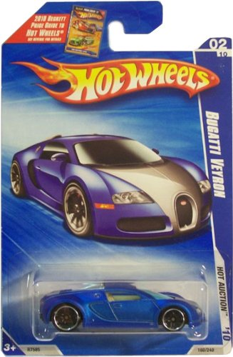 Hot Wheels Blue Card - Hot Wheels 2010-160 Blue Bugatti Veyron Hot Auction 1:64 Scale