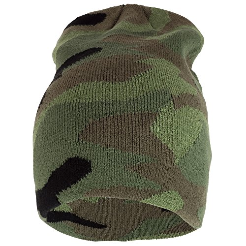 Print Winter Beanie - Trendy Apparel Shop Camouflage Print Long Winter Warm Beanie Cap - Green