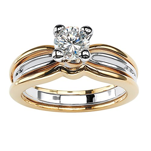 Round White Cubic Zirconia Two-Tone 18k Gold-Plated Solitaire Engagement Ring Size 7