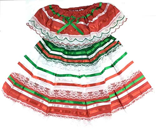 Mexican Dress Child Costume Fiesta Mexicana Theme Party, Dress Hippie Size 0 Color Multicolored