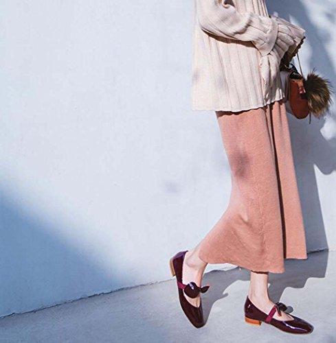 Rojo Planos Dulces 34 Rojo Mujeres Blanco Las del pie Zapatos Tamaño Zapatos Solos Zapatos Trabajo Arco Cuadrado Dedo del Color Zapatos 37 de 40 Tamaño Negro del de B45wWdcqd