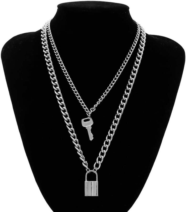 AQING Llavero Candado Colgante Collar Mujer Oro/Plata Cerradura Cadena En Capas En Joyería Colgante Joyas