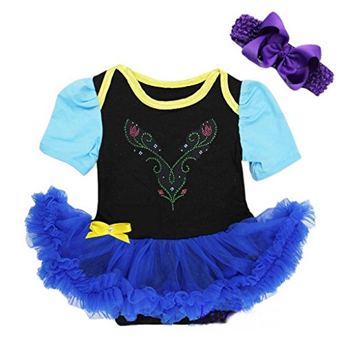 [Baby Anna Princess Black Royal Blue Bodysuit Tutu Costume Medium Black] (Black Bodysuit Costume)