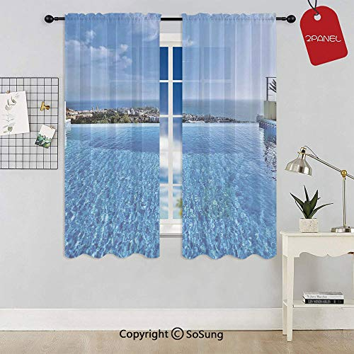 (View from Infinity Swimming Pool Tropical Seaside Villa Seascape Travel Destination Window Curtain Sheer Voile Panels,for Kids Room,Kitchen,Living Room & Bedroom,2 Panels,Each 32x36 Inch,)