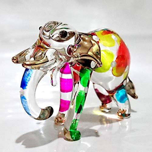 - Sansukjai Elephant Trunk Down Miniature Figurines Animals Hand Painted Blown Glass Art Gold Trim Collectible Gift Decorate, Multi