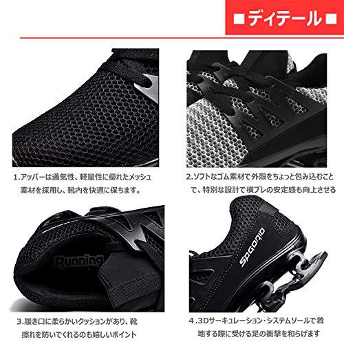 Reloko(レロコ) ランニングシューズ ジョギング クッション スニーカー-メンズ レディース兼用 カップルスポーツシューズ 軽量 通気ニット 23cm-28.5cm 6色展開
