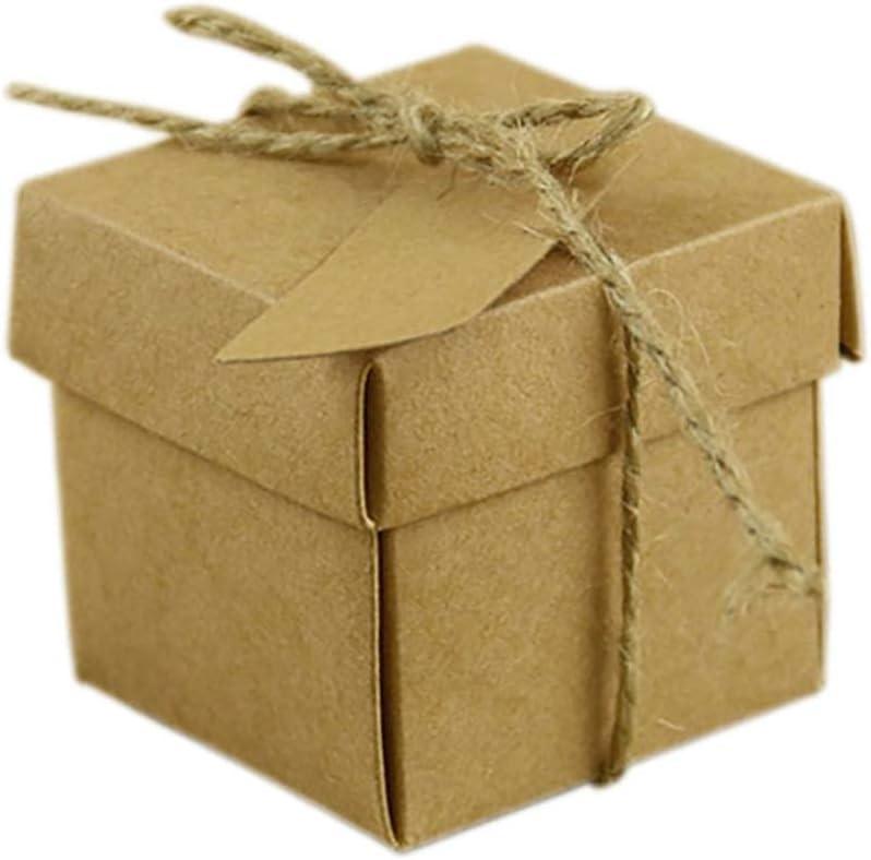 Kumkey 100x Retro Papel Kraft Caja de Dulces Creativo Cuerda de cáñamo Caja de Regalo de joyería para Boda Fiesta de cumpleaños Graduación Día de la Ducha del bebé Cartón De Decoración