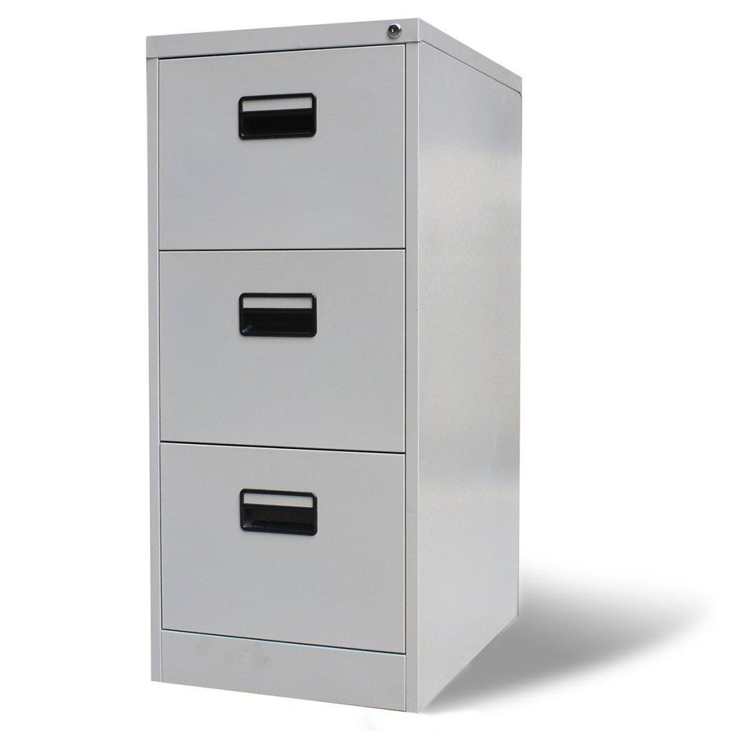 Festnight Armadio Mobile metallico archivio documenti per ufficio con 3 cassetti grigio