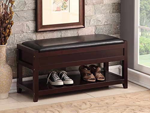 Espresso Bonded Leather Entryway Shoe Bench Shelf Storage