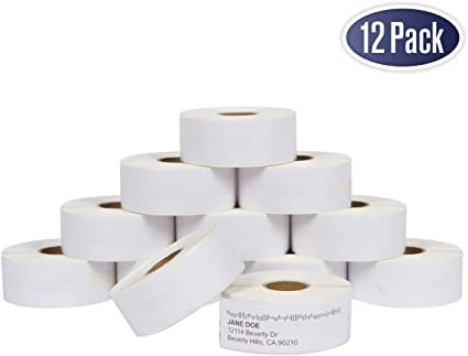 """20 Rolls of 350 Address Labels White 1-1//8/"""" x 3-1//2/"""" for DYMO LabelWriter 30252"""