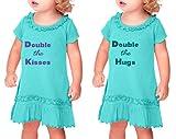Double The Kisses Double The Hugs Sunflower Short Sleeve Dress Twin Set Caribbean Blue 24 Months
