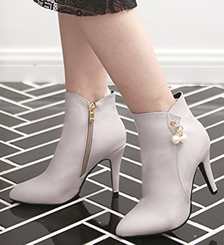 IDIFU Womens Elegant Rhinestones Pointed Toe High Heels Stiletto Boots Side Zipper Ankle Booties Gray an4CkOyrLx