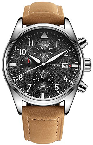 OCHSTIN Aviator Mens Military Chronograph Watch Leather Band Silver Stainless Steel Case Quartz Watches by OCHSTIN