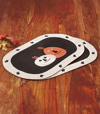 Set of 2 Placemats Polyester Country Primitive Halloween Decor
