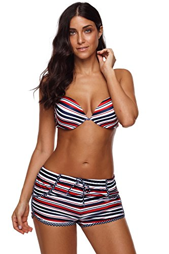 Sexybody Women's Colored Stripes Halter Top with Underwire Boyshort Bottom Two Piece Swimsuit Bathing Suit