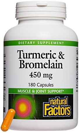 Natural Factors, Turmeric Bromelain 450 mg, Supports Healthy Digestion, Liver, Muscle and Joint Function, 180 capsules 180 servings