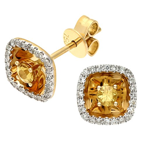 Revoni Bague en or jaune 18carats-Boucles d'Oreilles Clous carré jaune Saphir et Diamants 0.25Cts