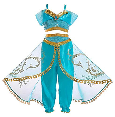 Sinmoocy Girls Princess Dress Up Jasmine Costume Outfit Kids Halloween Cosplay Fancy Party Clothing Set Holiday Role Play Size 9-10 Years/Tag 150 -
