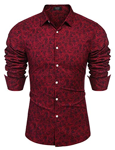 - Coofandy Men's Fashion Print Casual Long Sleeve Button Down Shirt Red Medium