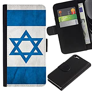 LeCase - Apple Iphone 6 4.7 - Israel Flag - Cuero PU Delgado caso Billetera cubierta Shell Armor Funda Case Cover Wallet Credit Card