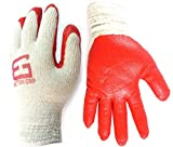 Better Grip Heavy Duty Premium Knit Latex Palm Gloves, Double Dipped Coating, Red/ White (BGERED,240)