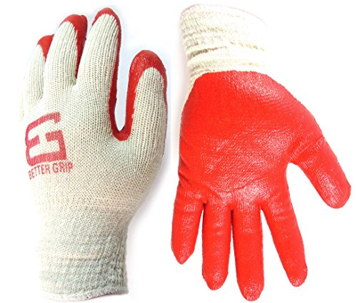Better Grip Heavy Duty Premium Knit Latex Palm Gloves, Double Dipped Coating, Red/White (BGERED,240)