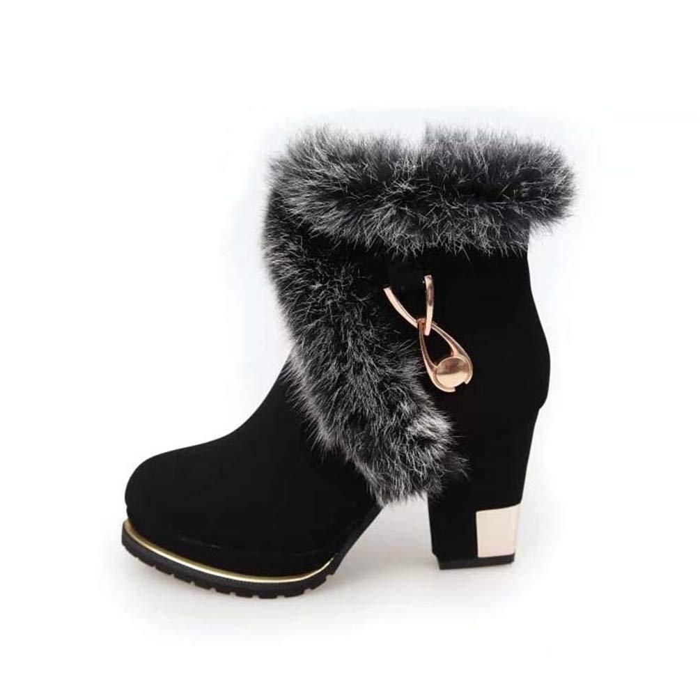 ZHRUI Frau Stiefel Winter Kunstpelz Mode High Heels Heels Heels Damen Schuhe Plattform Warme Schneeschuhe (Farbe   Schwarz Größe   5=38 EU) 6f7c52