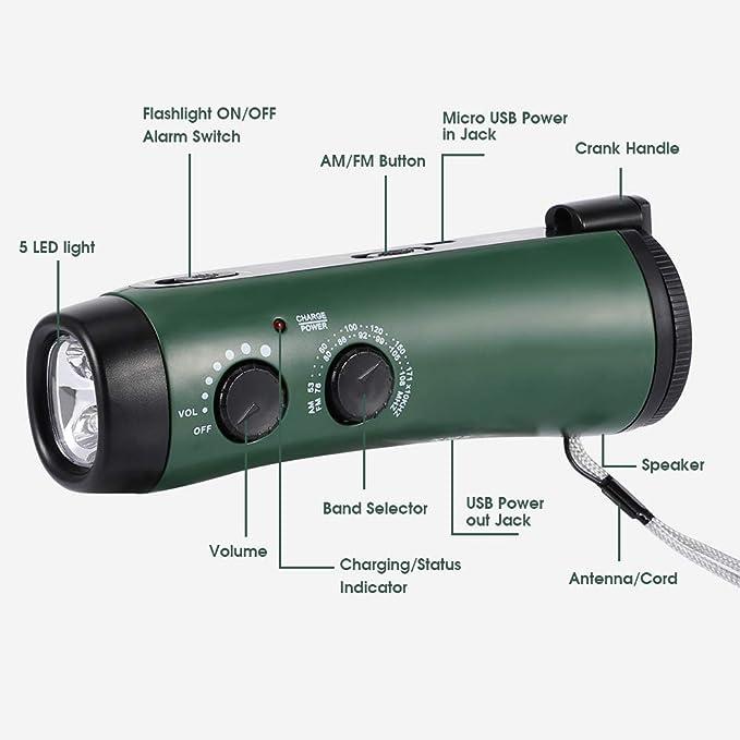 Lampe Torche LED Rechargeable par USB M/ét/éorologique Radio avec Alarme SOS pour Famille Randonn/ée Camping EECOO Radio Multifonction Portable Main Manivelle Self Powered AM//FM Radio