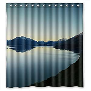 Custom design Anti-bacterial Rural scenery forest landscape Shower curtains, Width * Height / 66 * 72 inch / 168 * 183cm, Polyester, best for husband
