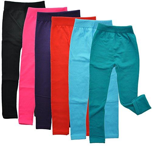 Angelina 6-Pair, Assorted-Color-Pack Girls Fleece-Lined Footless Leggings #017_6_L (Leggings Kids)