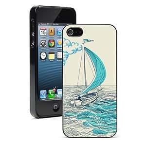 Apple iPhone 4 4S 4G Black 4B712 Hard Back Case Cover Color Blue Sailing Sketch