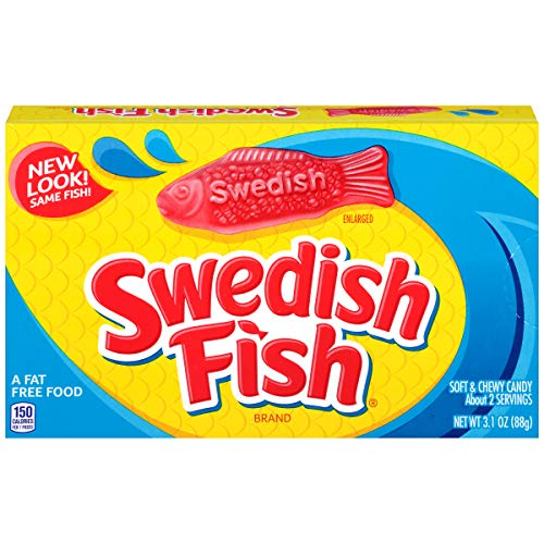 Swedish Fish Red Soft and Chewy Candy, Theater Size Box, 3.1 oz -